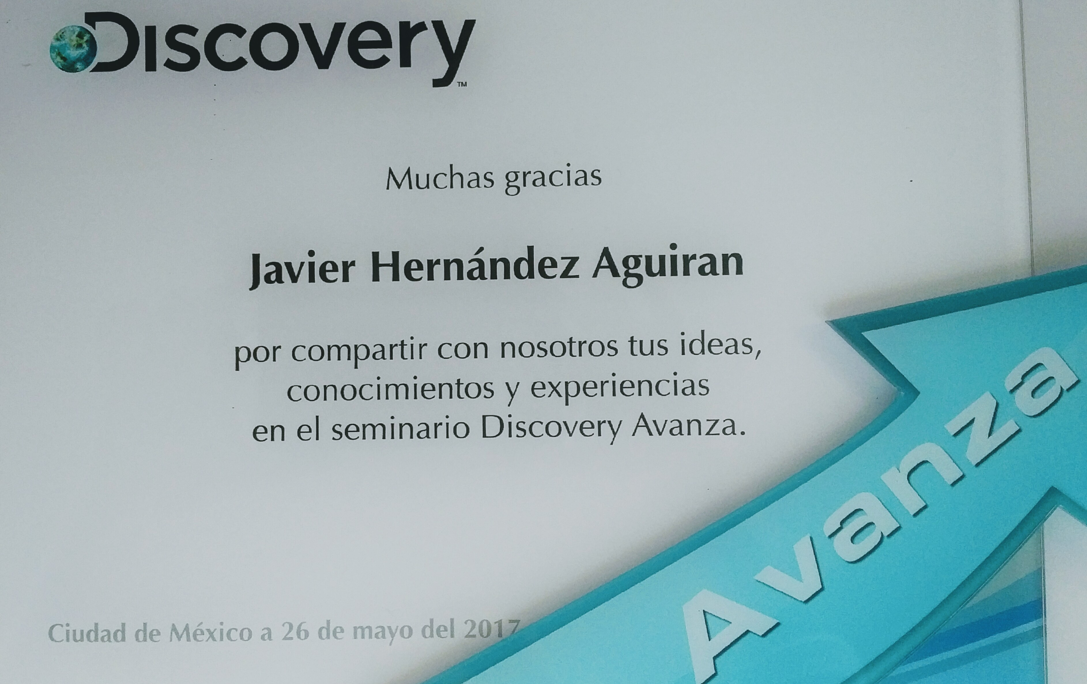 Diploma for Discovery Channel México